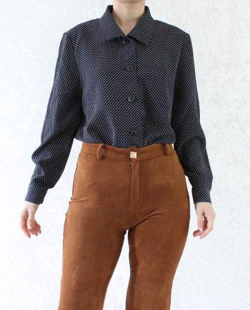 Vintage blouse polka dot navy T849