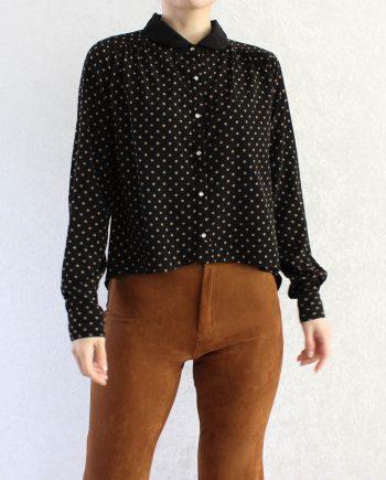 Vintage blouse polka dot zwart T332