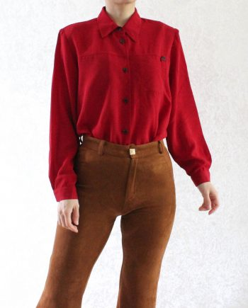 Vintage blouse rood basic T623