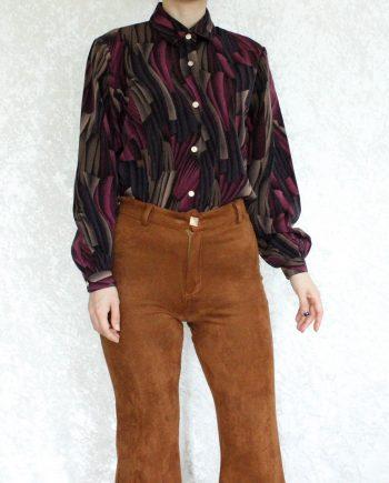 Vintage blouse roze bruin T335