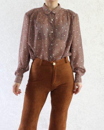 Vintage blouse stars brown T852