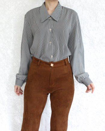 Vintage blouse stripe zwart wit T673