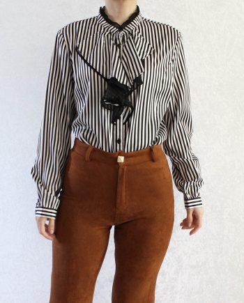 Vintage blouse stripe zwart wit T690.1