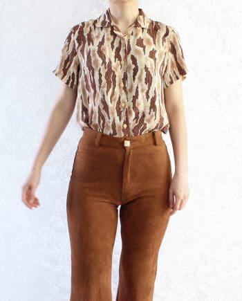 Vintage blouse tiger print T310