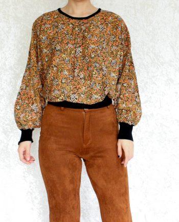 Vintage top bloem oranje roze T717