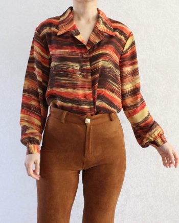 Vintage Blouse Art Red Yellow Size M T697