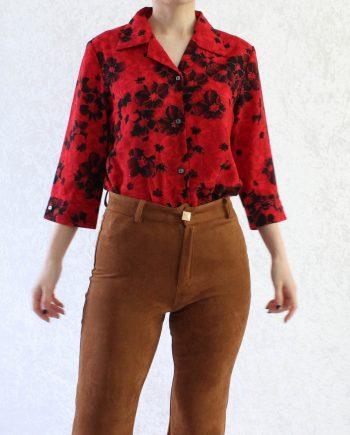 Vintage Blouse Bloemen Rood Zwart Maat S T311