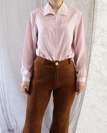 Vintage Blouse Bloemen Roze Maat S T842