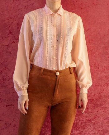 Vintage Blouse Lace Roze Maat XS T370