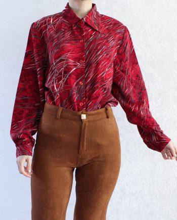 Vintage Blouse Rood Grijs Wit Maat L T353