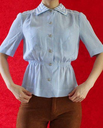 Vintage Shirt Blauw Pattern Maat XS T313
