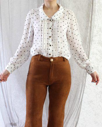 Vintage Shirt Lace Polka Dot Maat XS T336