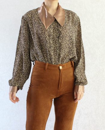 Vintage Shirtje Geel Bruin Maat L T818