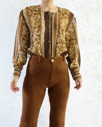 Vintage blouse bloem bruin geel T346