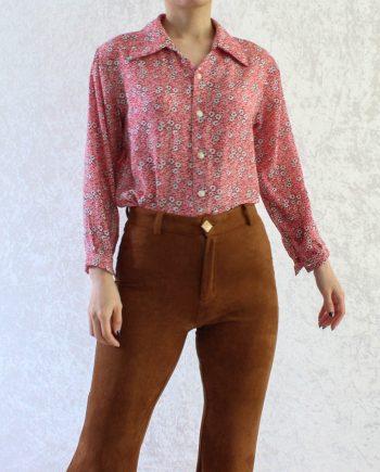 Vintage blouse bloemen rood wit T812