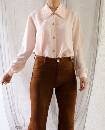 Vintage blouse roze embroidery T660