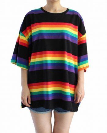 Regenboog t-shirt oversized