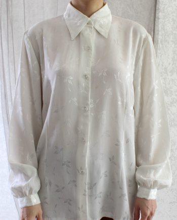 Vintage Blouse Folk Leaf Size M T691.2