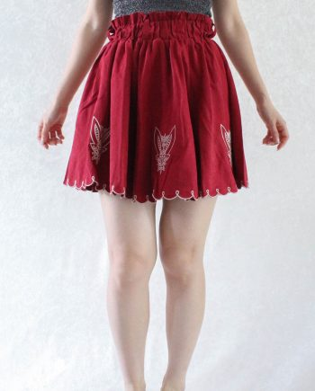Vintage High Waisted Rok Rood Maat XS T691.3