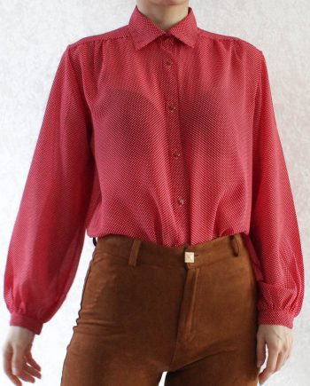 Vintage Shirt Polka Dot Rood Maat S T320