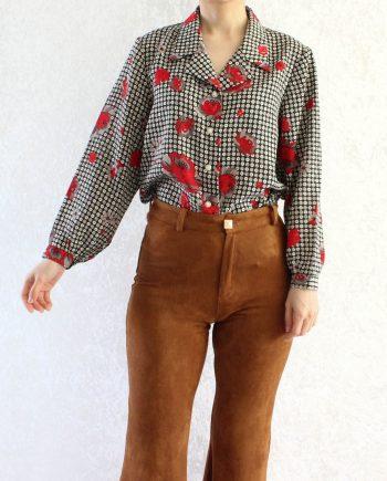 Vintage Blouse Bloem Rood Wit Maat M T846