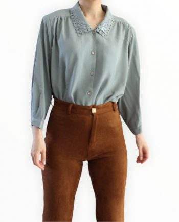 Vintage Blouse Lace Collar Groen Maat M T369