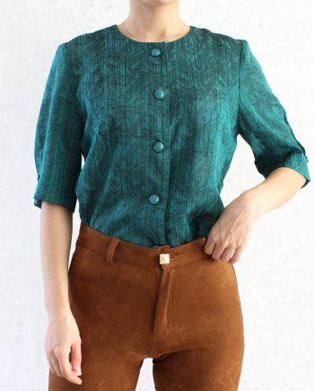 Vintage Blouse Blauwgroen Zwart Size XS T363