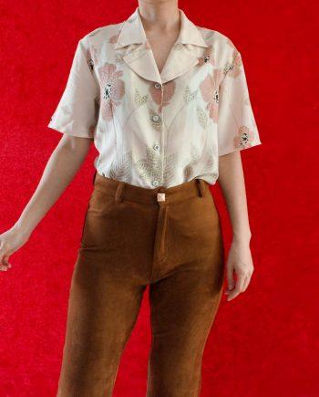 Vintage Blouse Bloem Rood Beige Maat S T624