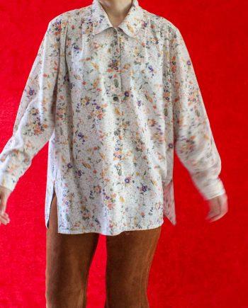 Vintage Blouse Flowers Oranje Paars Maat L T654