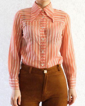 Vintage Blouse Grid Stripe Maat XS T344