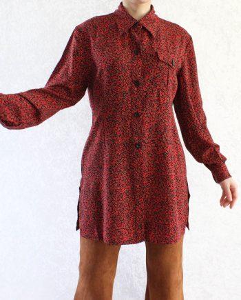 Vintage Lange Blouse Rood Groen Zwart Maat XS T371