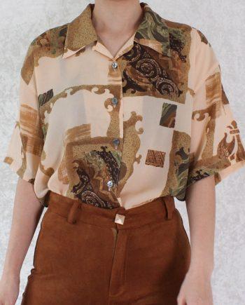 Vintage blouse beige bruin T706