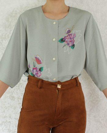 Vintage blouse beigegroen T706