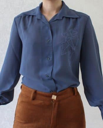 Vintage blouse blad blauw T631