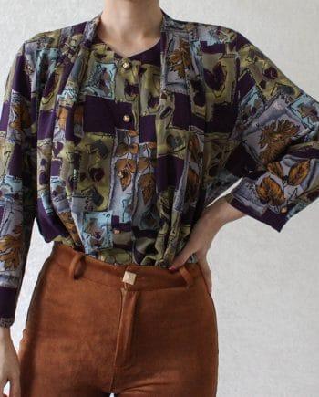 Vintage blouse blad paars geel T625