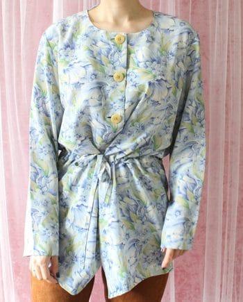 Vintage blouse bloem blauw T620
