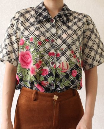Vintage blouse bloem roze blauw T702