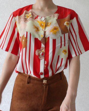 Vintage blouse bloem stripe T701