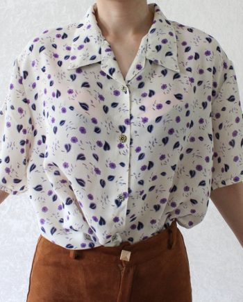 Vintage blouse lila paars wit T701