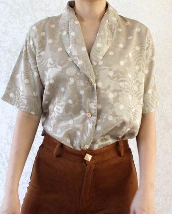 Vintage blouse polka beige T621