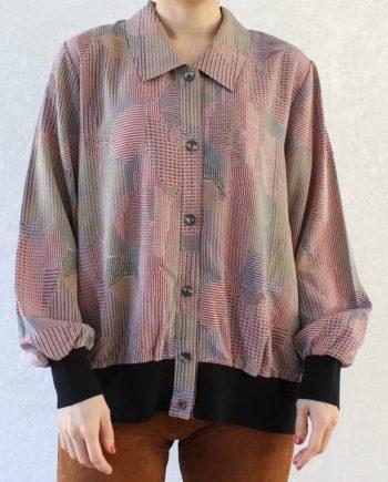 Vintage blouse roze groen T690