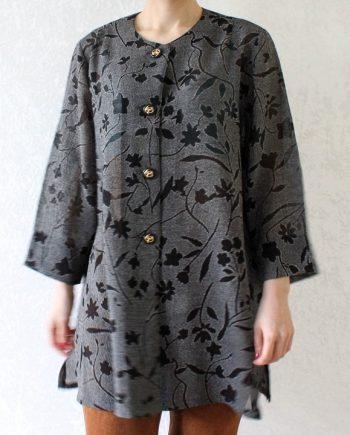Vintage blouse zwart bloem T660
