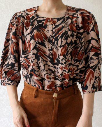 Vintage blouse zwart bruin T711