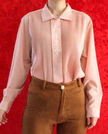 Vintage Blouse Pleated Roze Bloem Maat M T664