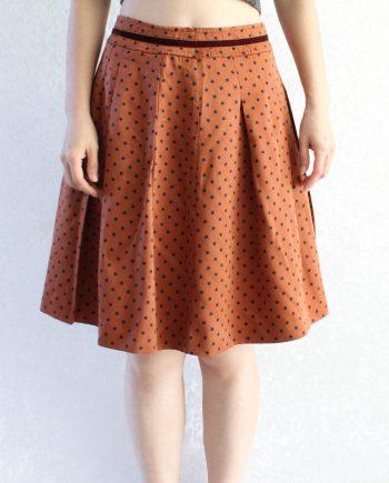 Vintage Rok Polka Oranje Maat XS T692.3